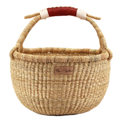 Natural<br>Cognac + Cream Handle<br>Medium Market Basket
