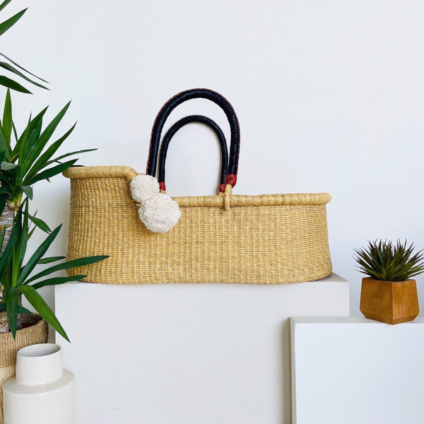 Wheatgrass <br> African Moses Basket <br> Black+Cognac Handle