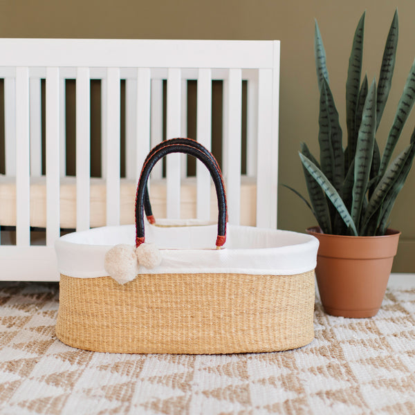 Wheatgrass<br>No Hood<br>African Moses Basket<br>Black + Cognac Handle