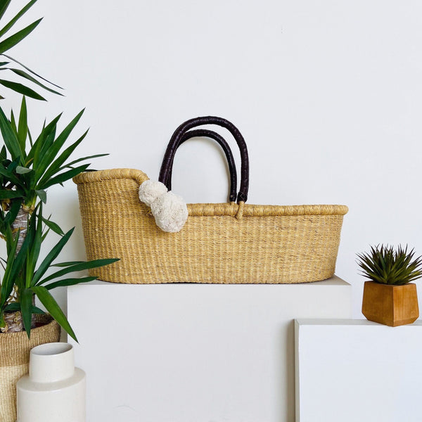 ** pre-order **<br> ships on or before feb 15<br>Wheatgrass<br>African Moses Basket<br>Brown Handle