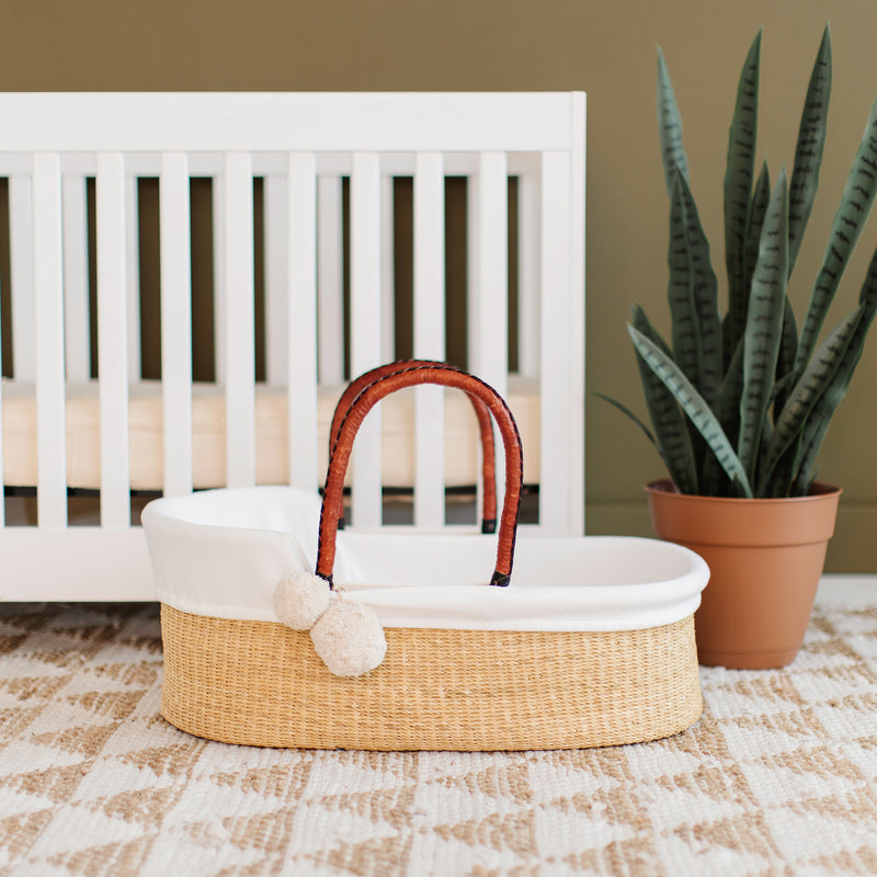 Wheatgrass<br> African Moses Basket <br> Cognac + Black Handle