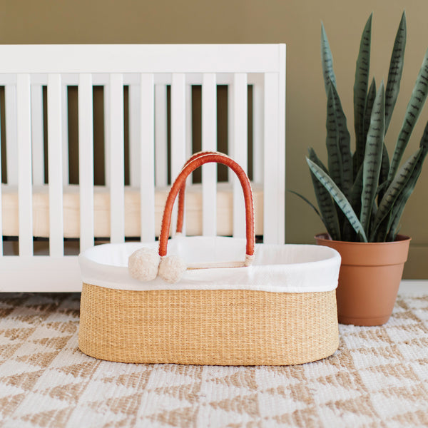 Wheatgrass<br>No Hood<br>African Moses Basket<br>Cognac+Cream Handle