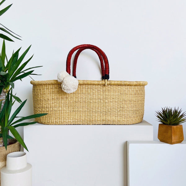Wheatgrass<br>No Hood<br>African Moses Basket<br>Cognac + Black Handle