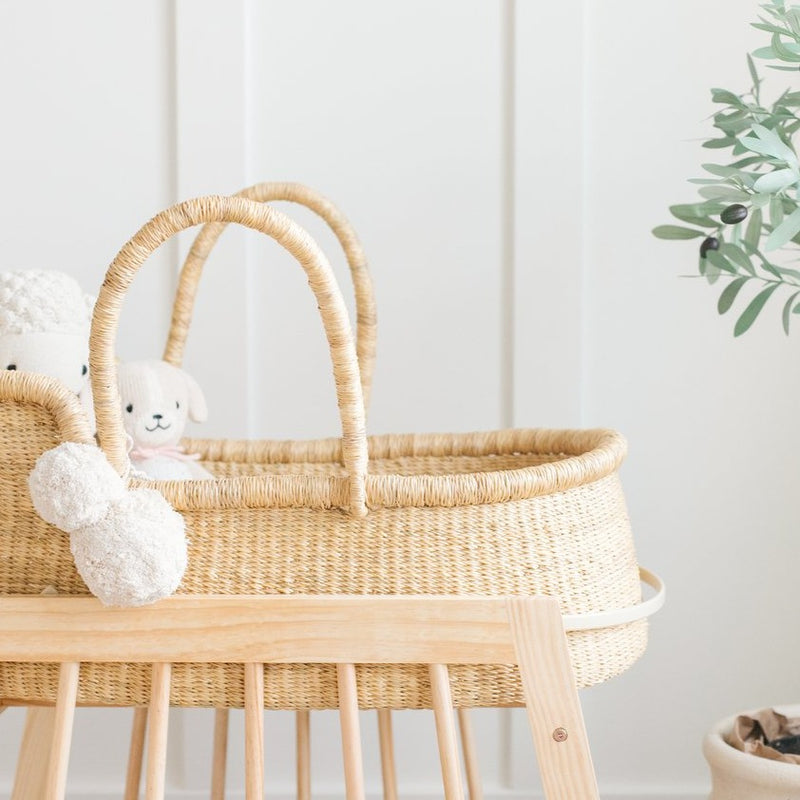 Modern Rocking Bassinet Stand<br>Natural Wood