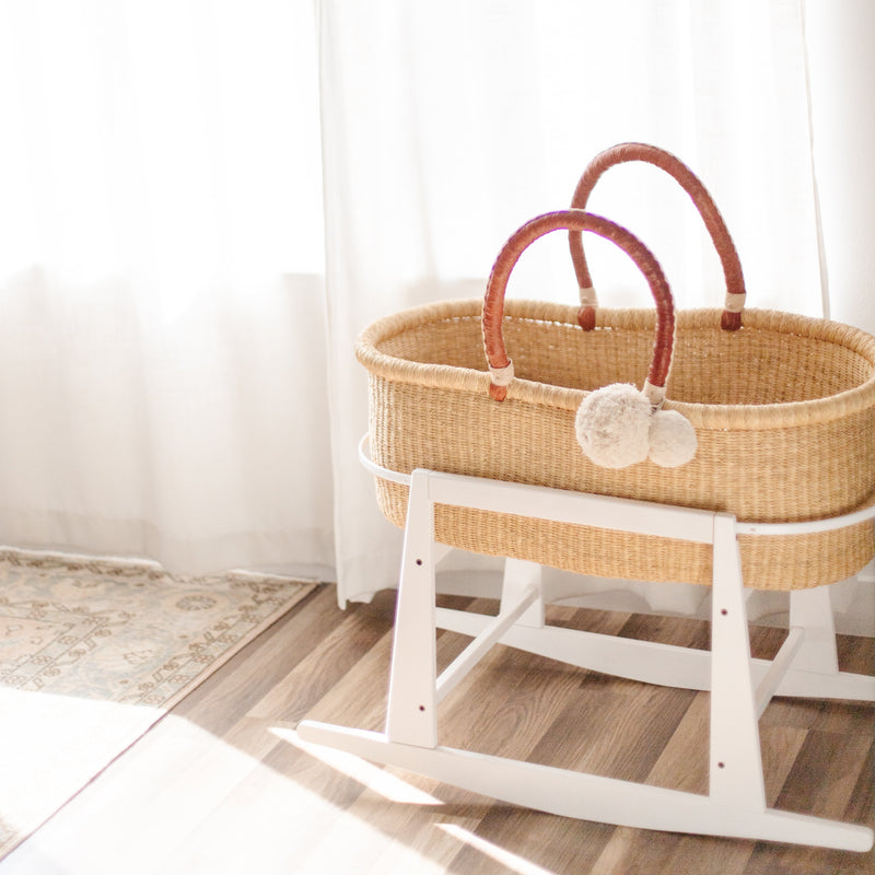 Rocking Bassinet Stand<br>White Wood