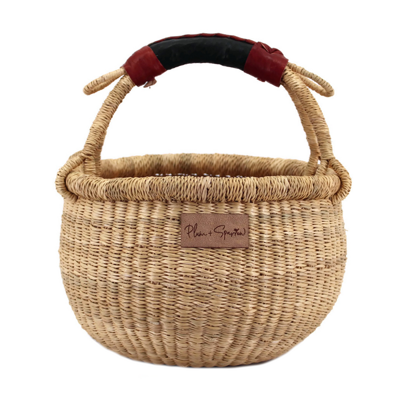 Natural<br>Black + Cognac Handle<br>Small Market Basket