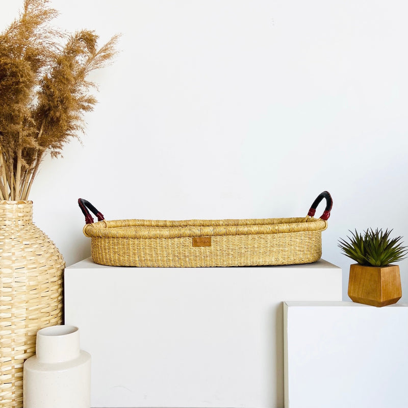 Wheatgrass<br>Changing Basket<br>Black + Cognac Handle