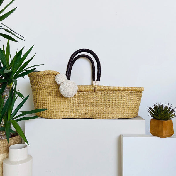 Wheatgrass <br> African Moses Basket <br> Brown + Cream Handle
