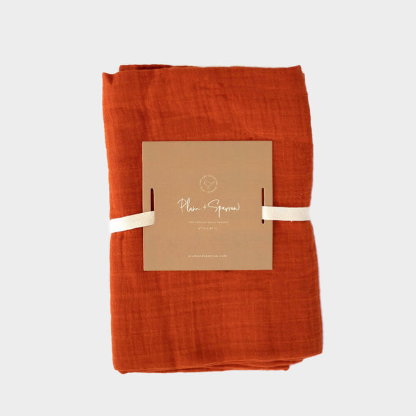 Muslin Cotton Swaddle<br>Burnt Orange