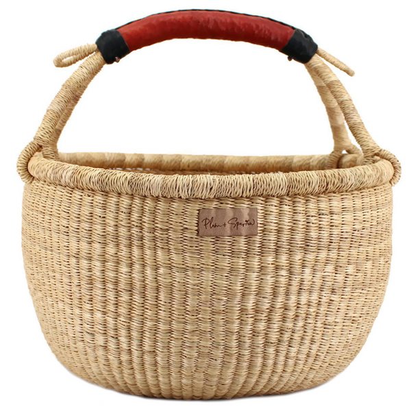 Wheatgrass<br>Cognac + Black Handle<br>Large Market Basket