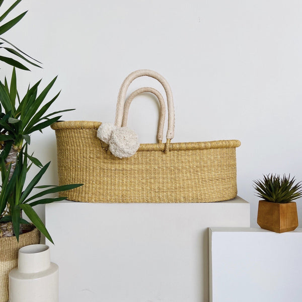 Wheatgrass<br>Perfectly Imperfect<br> African Moses Basket<br>Cream Handle