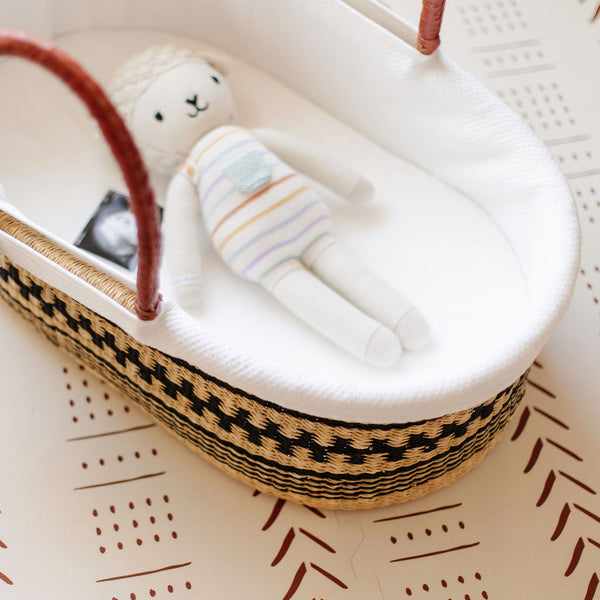 ** pre-order **<br> ships on or before feb 15<br>Wheatgrass <br> African Moses Basket <br> Brown + Cream Handle