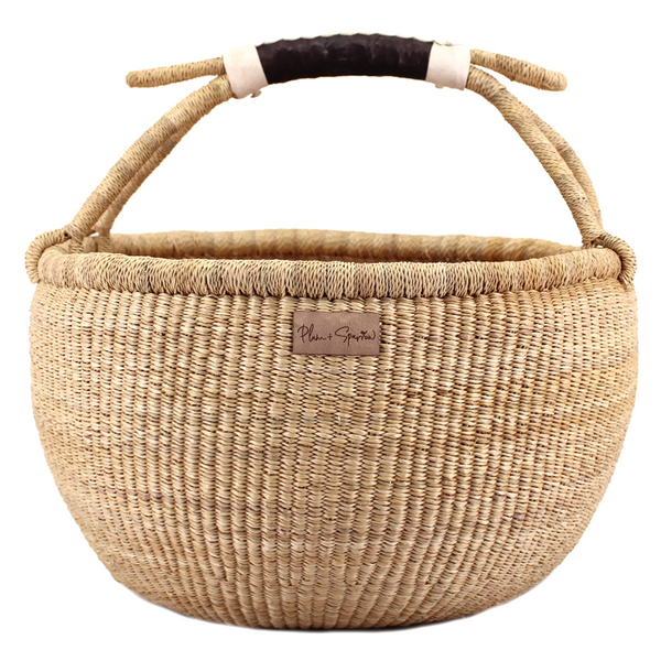 Wheatgrass<br>Brown + Cream Handle<br>Large Market Basket