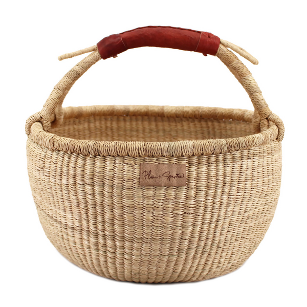 Natural<br>Cognac Handle<br>Medium Market Basket