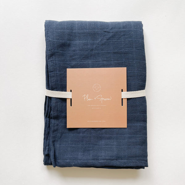 Muslin Cotton Swaddle<br>Midnight Navy