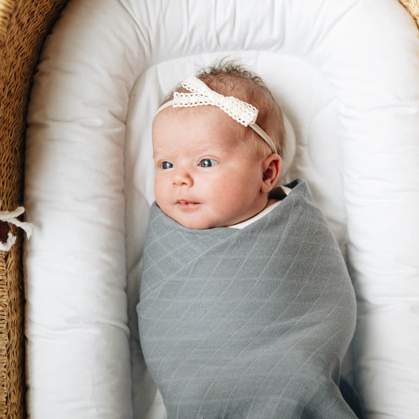 Muslin Cotton Swaddle<br>Muted Blue