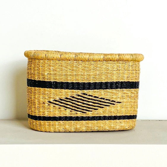 Navy Diamond Bike Basket - Medium