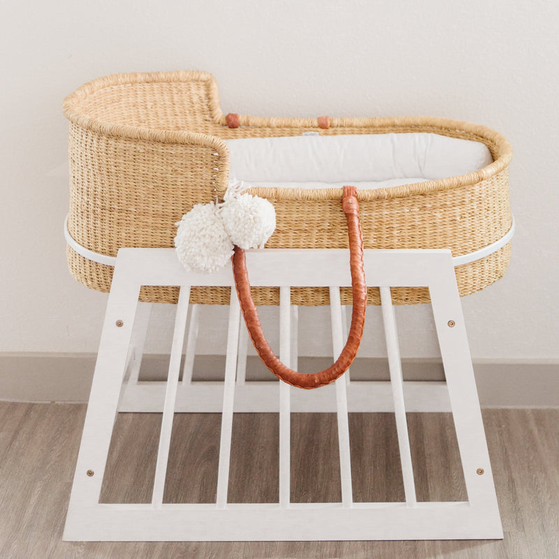 Modern Non-Rocking Bassinet Stand<br>White Wood