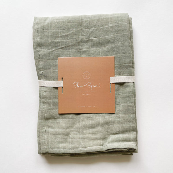 Muslin Cotton Swaddle<br>Sage