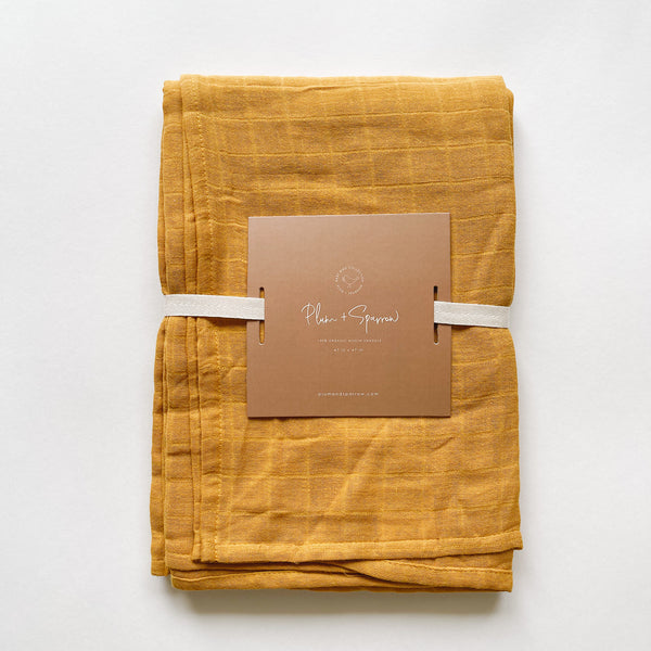Muslin Cotton Swaddle<br>Spicy Mustard