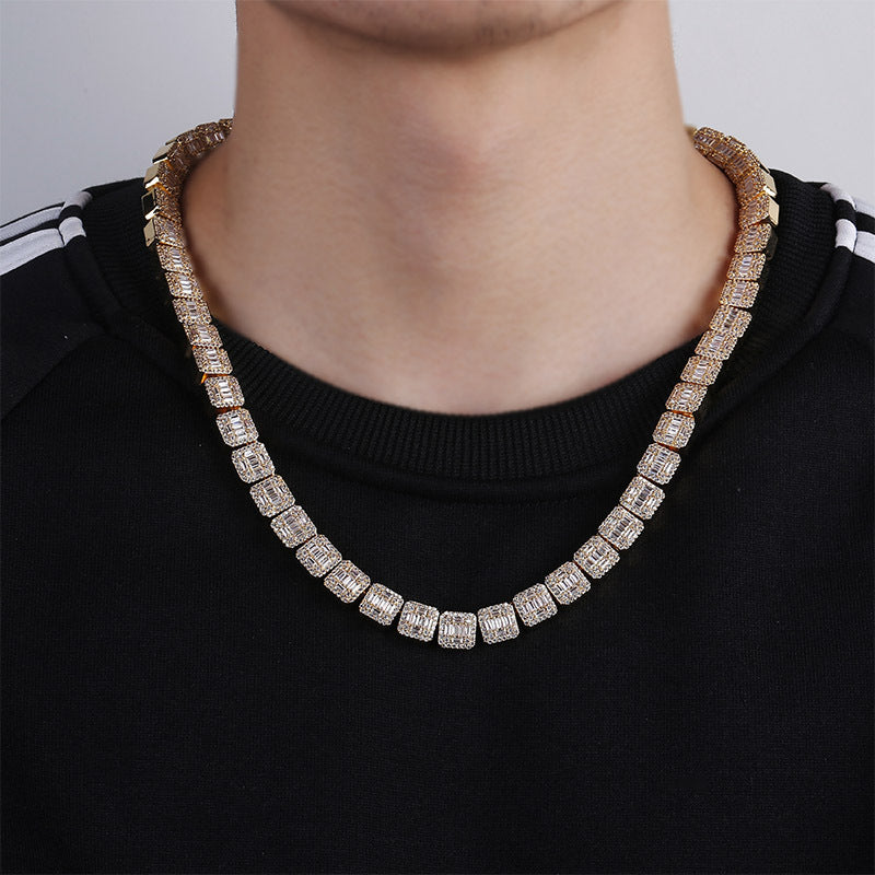 10mm Gold Finish Iced Baguette Necklace