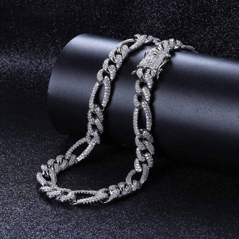 10mm Iced Out Cuban Link Figaro Chain Cz Diamond Necklace