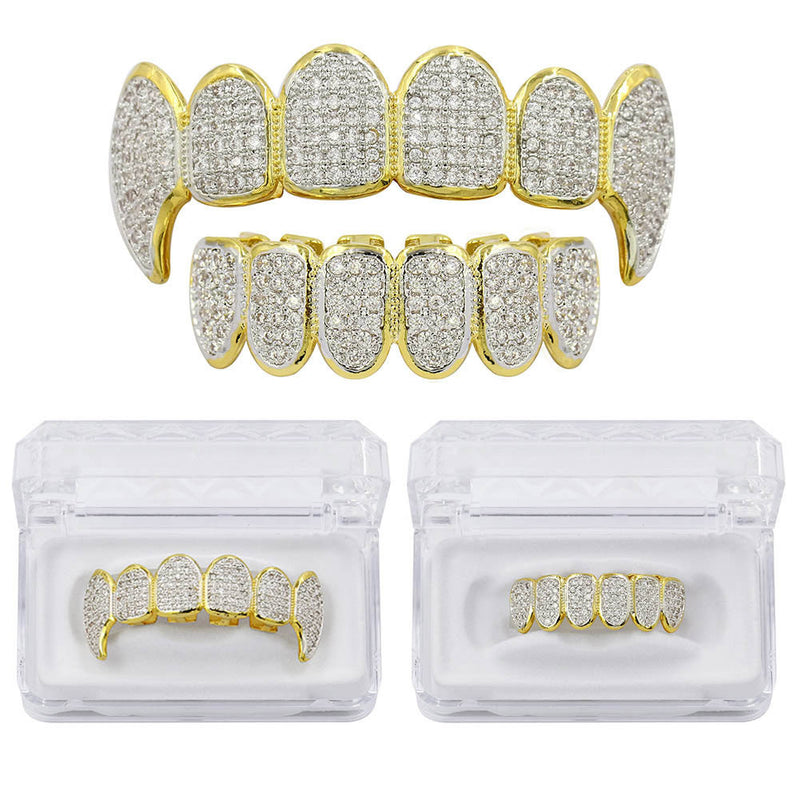 12 Iced out Vampire Teeth Premium Grillz