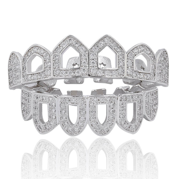 12 pcs Gold Plated Fanged CZ Cluster Grillz