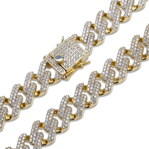 14mm 18k Gold Plated Hip Hop Iced Miami Cuban Bracelet
