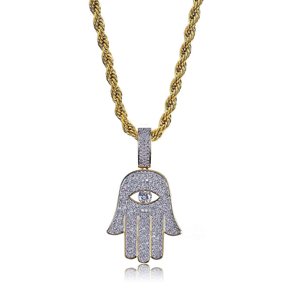 18k Gold-Plated Quality Hip Hop Pendant Hamsa Hand & Evil Eye Necklace