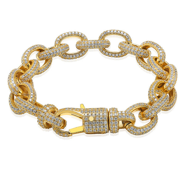 15mm Iced Out Hermes Chain Bracelet