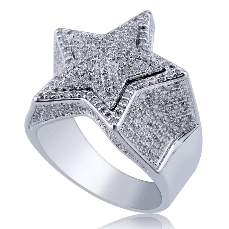 Iced Out 3D Pentastar Diamond Star Ring