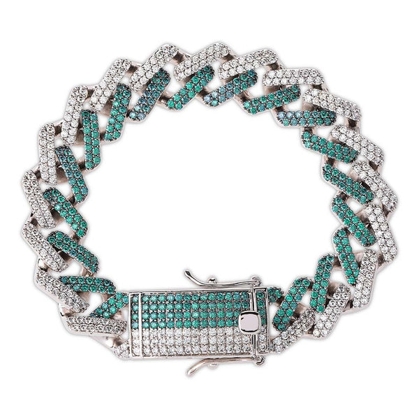 14mm Mint Blue Color Square Cuban Link Bracelet