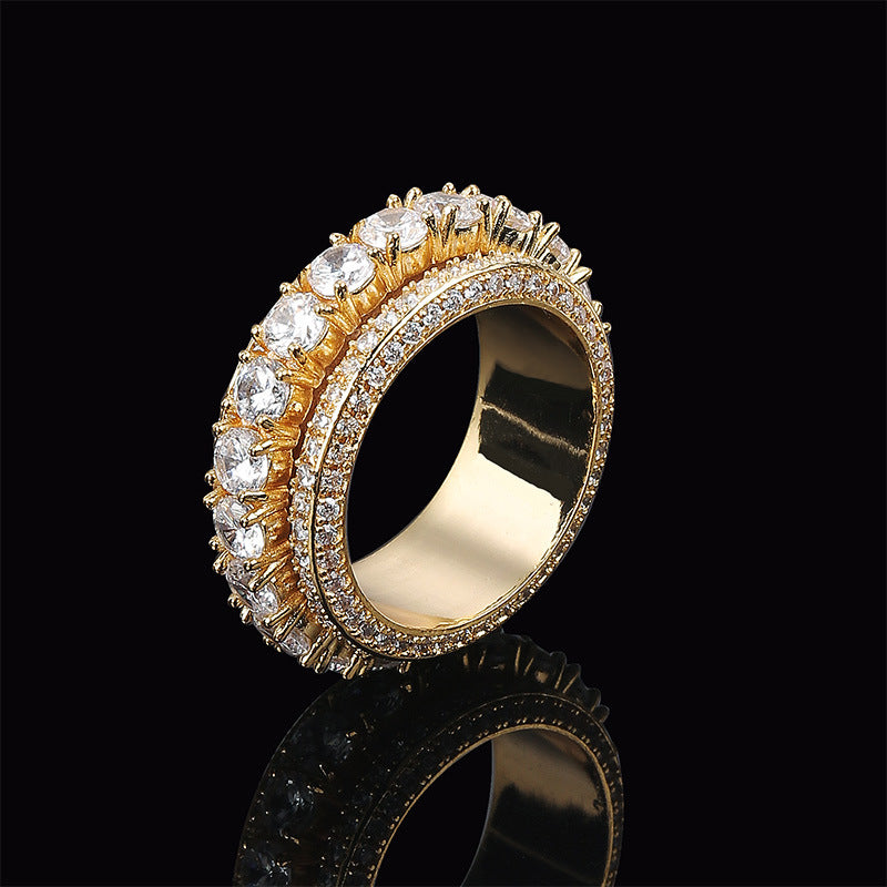 Men's Hip Hop 5 Rows Spinning Layered Diamond Ring