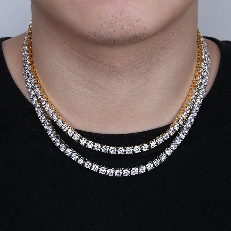 5mm Gold Plated Hip Hop Round Tennis Chain Necklace