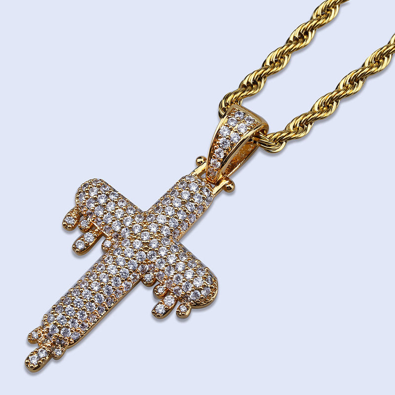 Gold Iced Out Simulated Lab Diamond Dripping Religious Cross