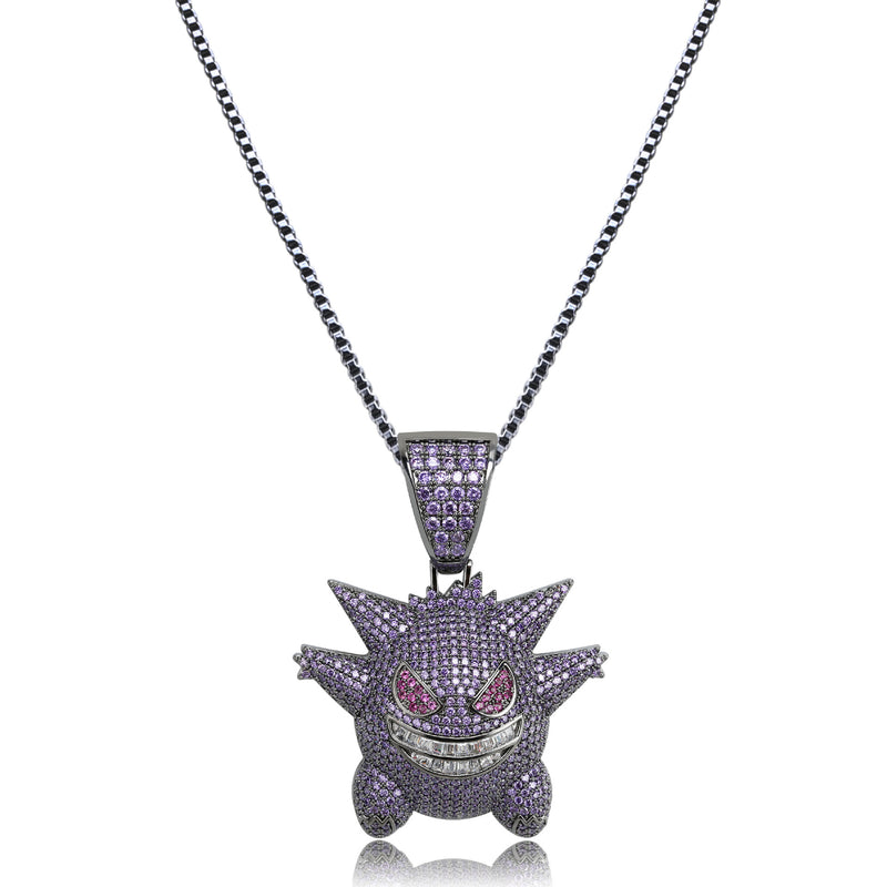 Iced out Pokémon Gengar Pendant Necklace