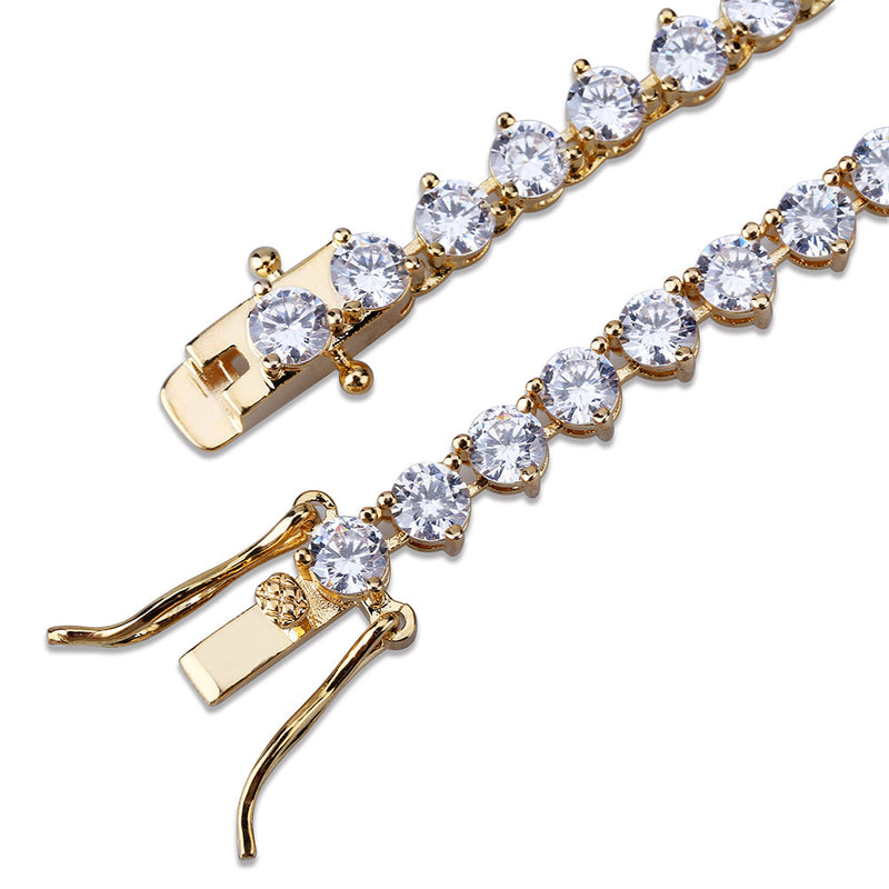 4mm&6mm Gold Plated Hip Hop Three-Prong Inlay Tennis Chain Necklace