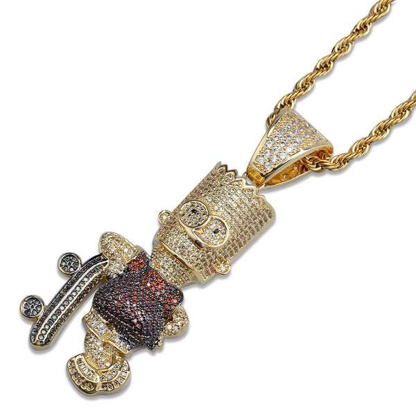 18K Gold-plated Iced Bart Simpson Skateboard Pendant