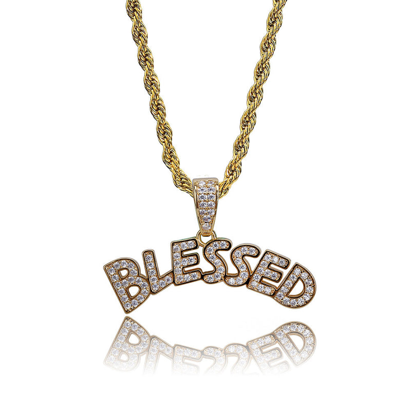 Gold-plated BLESSED Pendant with AAA Zircon Crystals