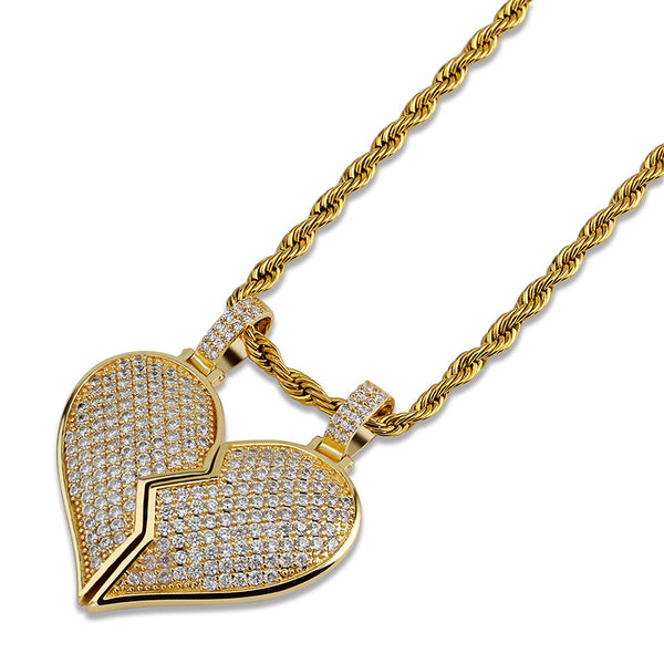 Broken Heart Two Bff Pendant Rapper Jewelry