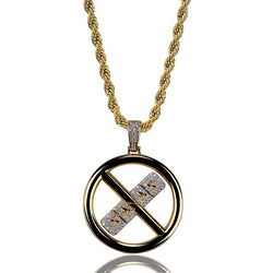 Hip HopJewelry Gold Plated Iced Out CZ Hollow XANAX Pendant Necklace