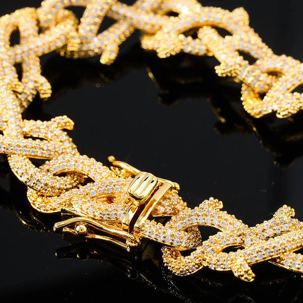 Crown of Thorns Chain 15mm Gold Bracelet