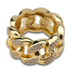 18K Gold-plated Cuban Chain Ring