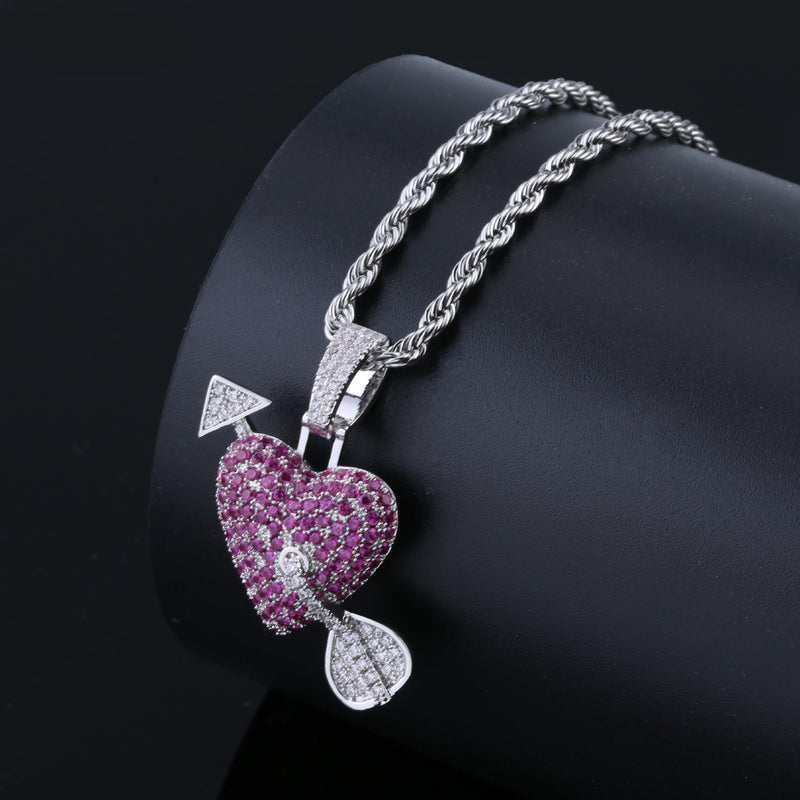 Cupid Arrow Through the Heart Love Pendant  Couples Jewelry