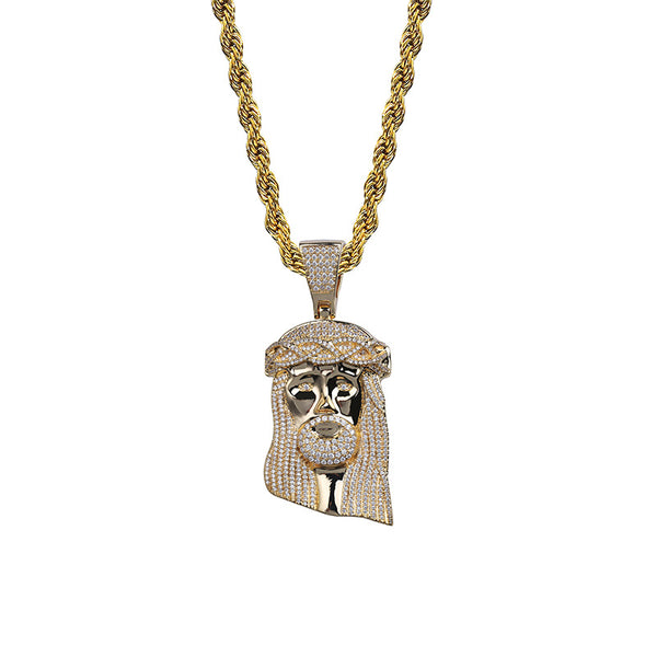 Diamond Retro Jesus Piece Face Pendant