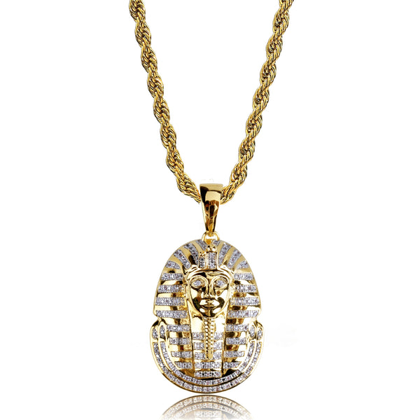 18K Gold-plated Iced Egyptian Pharaoh Pendant