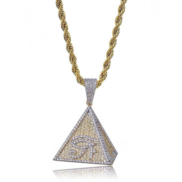 18K Gold-plated Iced Egyptian Pyramid Eye of Horus Pendant