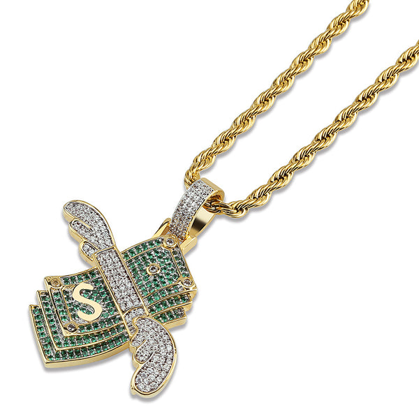 Flying Dollar Pendant Necklace with Wings