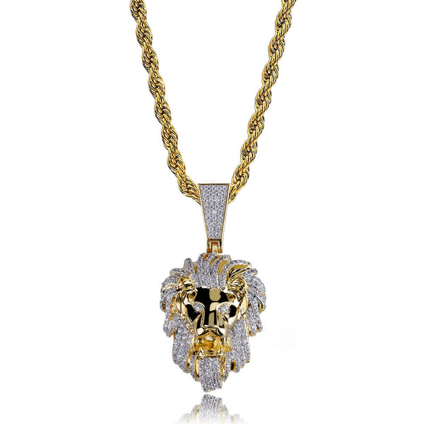 Gold Plated Iced Out Cubic Zirconia Lion Head Pendant Necklace
